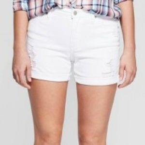 Women's High-Rise Destroyed Midi Jean Shorts